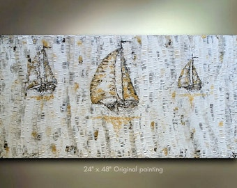 Original Sailboat Painting Abstract Texture Boat wall decor Nautical Artwork Modern Contemporary Ocean Fine art canvas acrylic oil by OTO