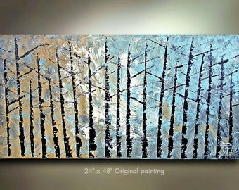 COMMISSION Original Birch Tree Painting Abstract Art Landscape treescape artwork 48x24 Modern Contemporary mixed media Made to Order by OTO