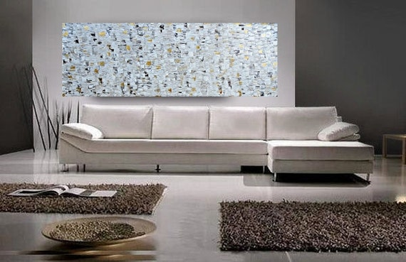 SALE xxl Large Abstract Painting Original 72X36 white gold brown Texture Artwork Modern Fine oil canvas acrylic Made to order by OTO