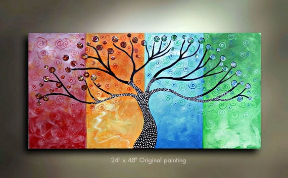 Original Tree of Life Painting Four Seasons Abstract Art 48x24 Modern Contemporary Texture Painting Made to Order by OTO