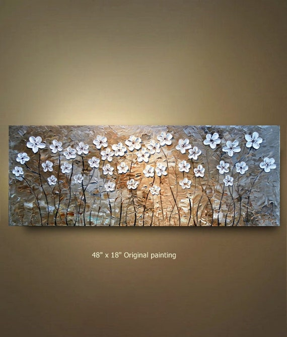 ORIGINAL 48x18 White Flower Abstract Painting turquoise tan Floral Impasto Landscape Artwork Textured Modern Contemporary art by OTO