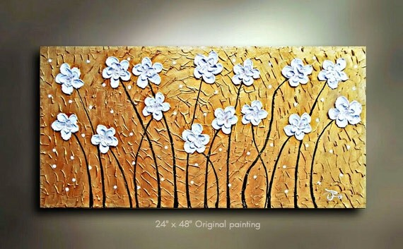 ORIGINAL Flower Painting Abstract Art White floral Landscape Artwork Flowerscape Textured 48x24 Modern Contemporary art Made to Order by OT
