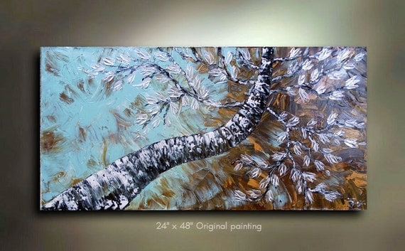Original Abstract Birch Tree Painting Art Landscape woods treescape great color 48x24 Modern Contemporary Texture Painting by OTO