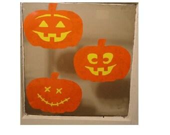 Halloween Pumpkin Static Clings - Set of 3