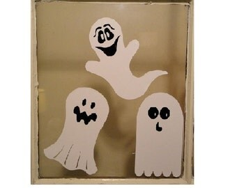 Ghosts / Clings / Scary / Halloween / Set of 3 / Decor / Decorating / Removable / Reusable / Haunted / Windows / Faces / Casper