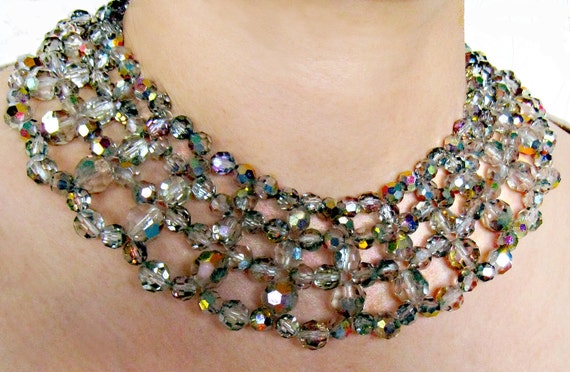 Vintage Czech Crystal AURORA BOREALIS Bib Necklace '60's designer sample NYC