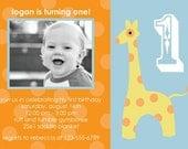 Blue and Orange Giraffe Birthday invitation