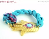 15% OFF Gold- Large Hamsa Hand Bracelet. Made with Beautiful Turquoise Hand Dyed  Silk