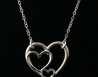 Sterling Silver Triple Heart Necklace - Heart Love Links, Girlfriends, BFF's, Family, Mother and Child, Sisters, Bridesmaid, 3 Heart