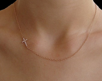 Cross - Sideways Cross CZ Necklace - Horizontal Cross - Kelly Ripa, Faith, Gift, Bridesmaid Gifts, 14k Gold, RoseGold or Sterling Silver
