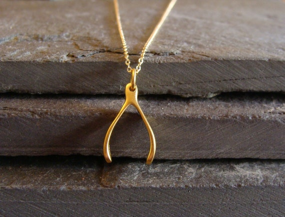 Wishbone Necklace in Gold...