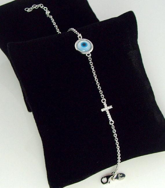 Lucky Evil Eye and Sideways Cz Cross Bracelet - Celebrity Jewelry, Mother's Day Gift, Great Gift, Mom, Sister, BFF, Girlfriend Jewelry