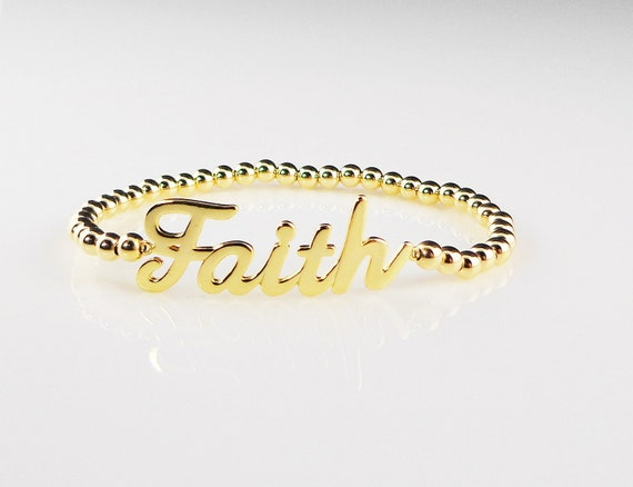 """Sideways """" Faith """" Bar Bracelet with Gold Filled Beads - Great Gift, Bridesmaid Gifts, Mom, Bridal Party, Teacher Gift"""