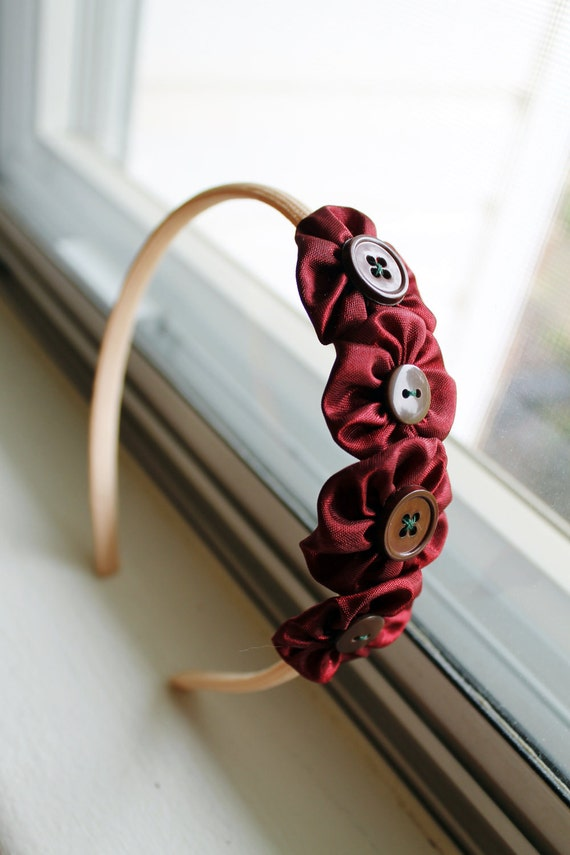 New Blooms - Rosy Posies, Red and Brown, Thin Flower Headband