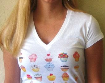 I Like Cupcakes Womens V Neck T Shirt