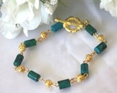 Gold Bracelet with Natural Malachite beads