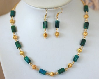 LIQUIDATION 50% off hand made Elegant Fashion Stunning Natural Malachite Necklace and Earrings Set
