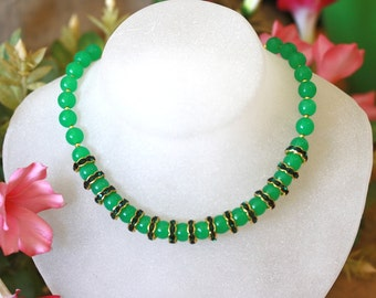 LIQUIDATION Natural Jade Beads Necklace with gold beads and sparkling dark green rhinestones