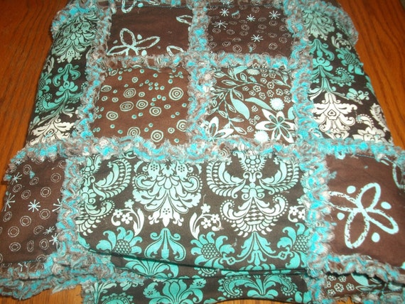 Blue and Brown Damask Rag Quilt