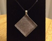 Square Glass Tile Pendant with gray cardstock on a rattail cord