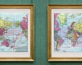 world maps - two vintage maps WORLD atlas map prints - vintage world map print art