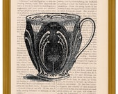 dictionary art print set of 5 TEACUP prints on old book pages
