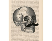 halloween decor dictionary art vintage SKULL with MUSTACHE print - vintage art book page print - skull dictionary art halloween decorations