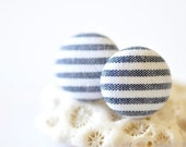 Fabric Button Ear Posts - Blue & White Stripes