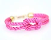 Square Knot Silk Rope Bracelet - Pink