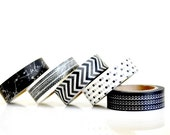 Washi Tape Set of Five - Black