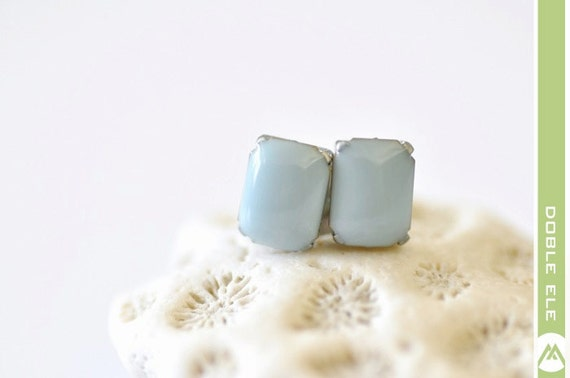Glossy Rectangle Ear Posts - Pale Blue