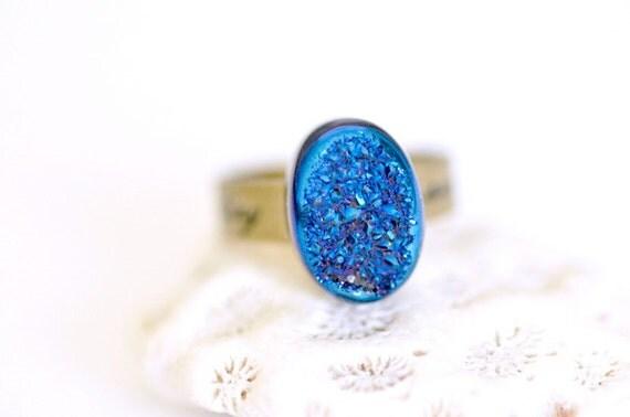 OOAK Oval Purple Blue Titanium Druzy Ring -04-