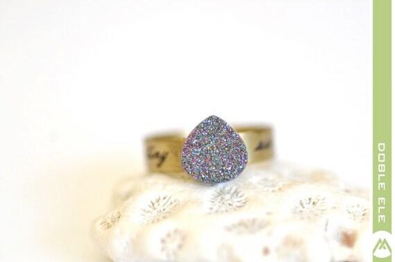 OOAK Rainbow Titanium Druzy Ring -10-
