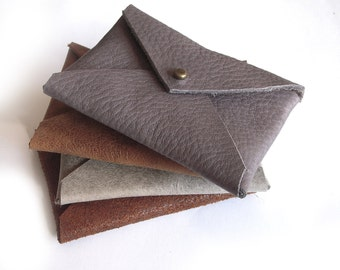 Men's wallets, Buy one get 1 FREE, Business Card Leather Holder, Envelope Card Case, leather card holder, gift for him, Christmas gift