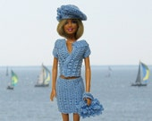Barbie clothes crocheted blue outfit hat bag skirt jacket handmade