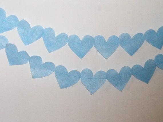 Blue felt heart bunting , heart banner , heart garland , bunting , shower decor , christmas decoration