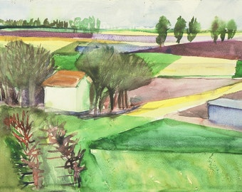 "Original watercolours ""Through the window - Home in the fields"""
