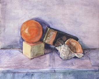 Still-life with a shell - original watercolor - 50 x 65cm