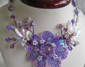 Necklace Wirewrapped in Lillac and Lavender Colours