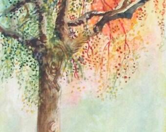 Original Painting Sunset With Tree Original Mixed Media Watercolour