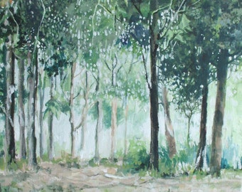Original Painting Trees and Light on Canvas