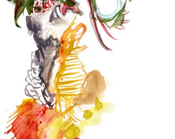 Original Watercolor Figure Painting, Colorful Abstract Home Decor - 32