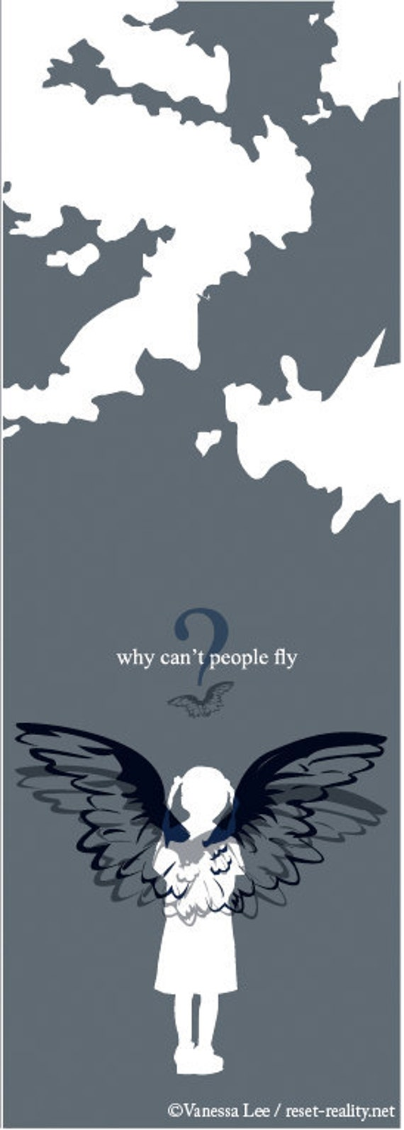 Original Handmade Children's Book, Digital Illustration, Why Can't People Fly