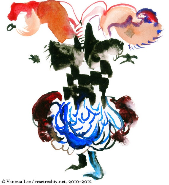 "Original Artwork, Figure Painting, Abstract Art, Fashion Illustration, 6"" x 6"" - 48"