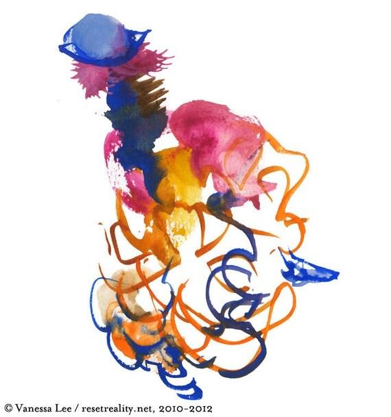 "Fashion Illustration, Figure Painting, Abstract Art, Costume Illustration, 6"" x 6"" - 228"