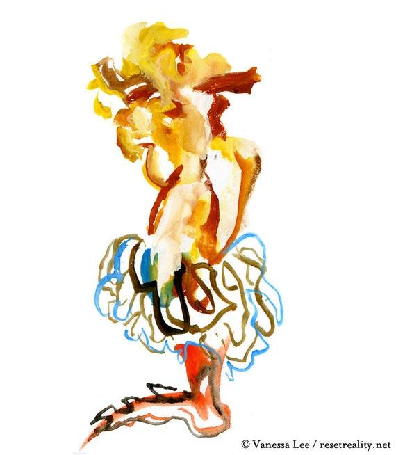 "Figurative Art, Abstract Figure Painting, Surreal Art, Fashion Illustration, 6"" x 6"" - 52"