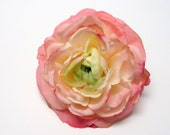Silk Flowers - One Pink Silk Ranunculus - 3.75 Inches - Artificial Flowers
