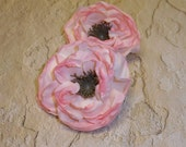 Silk FLowers - Two Small Dry Look Peonies in Light Pink - 2.5 Inches - Artificial Flowers