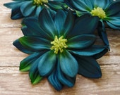 Last Set - THREE Large Teal Blue Dahlias - 4 Inches - Artificial Flowers