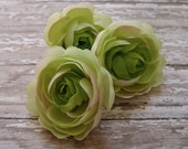 Silk Flowers - THREE Silk Ranunculus Flowers in Apple Green - 2.75 - 3 Inches - BUDGET Artificial Flowers